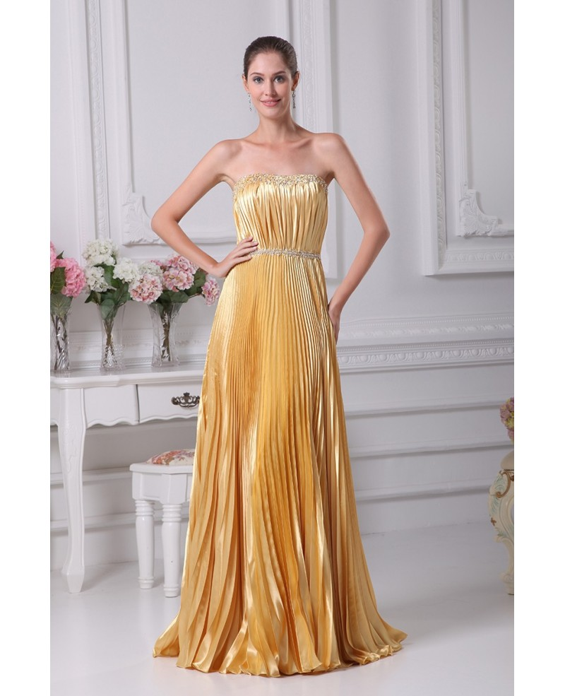 Gorgeous Strapless Pleated Long Gold Dress with Beading