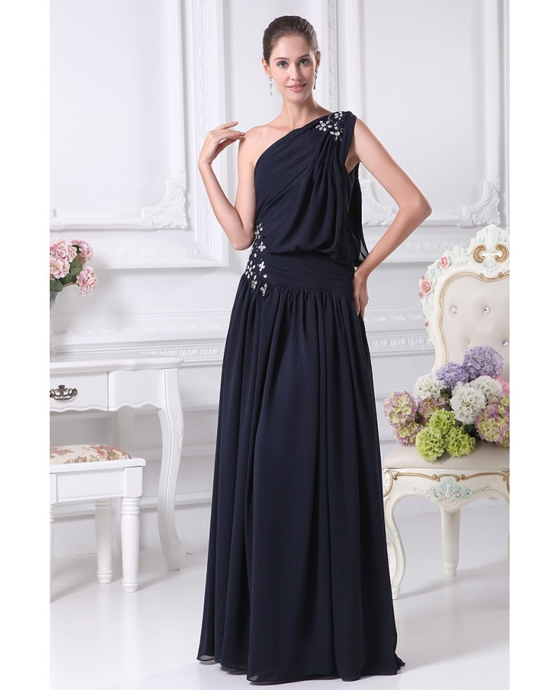 One Shoulder Navy Blue Chiffon Long Beaded Party Dress with Corset Back