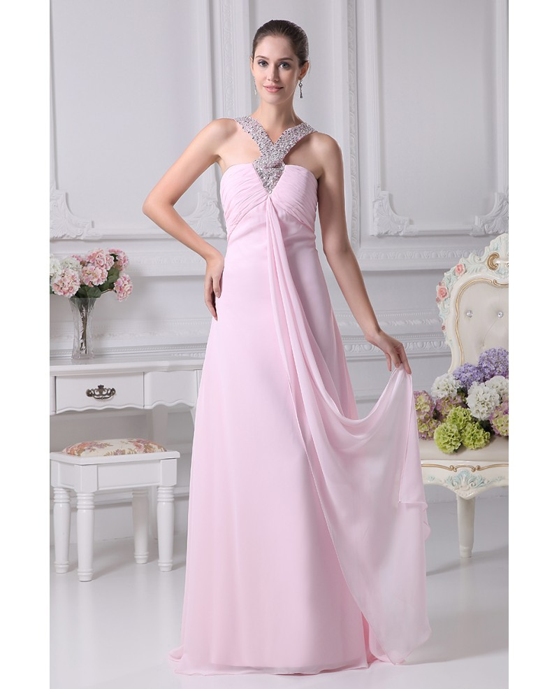 Simple Chiffon Floor Length Pink Prom Dress with Beading Halter Neck