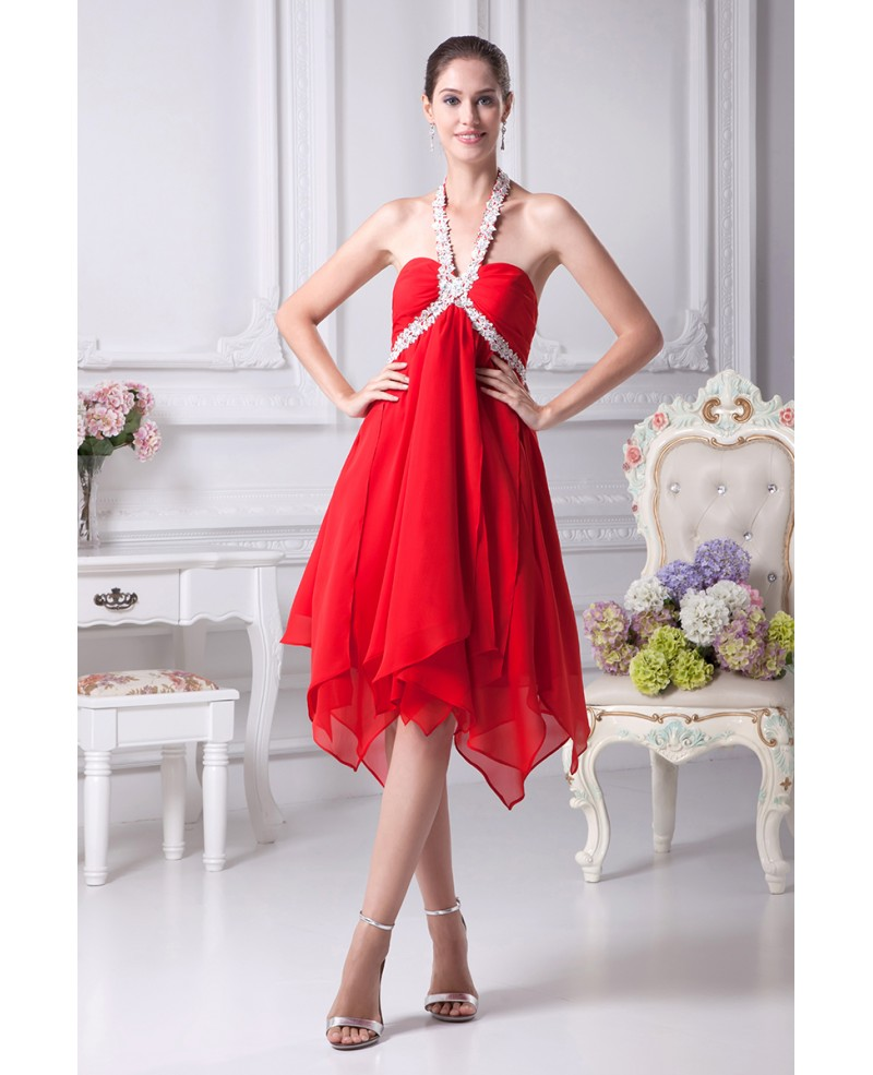 Hot Red Short Chiffon Crystal Prom Dress with Long Halter Neck