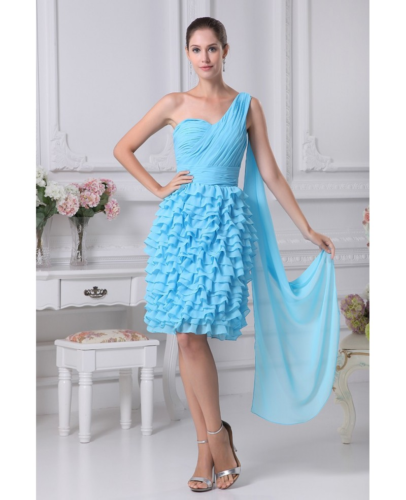 Layered Blue Knee Length Folded Party Dress in One Shoulder