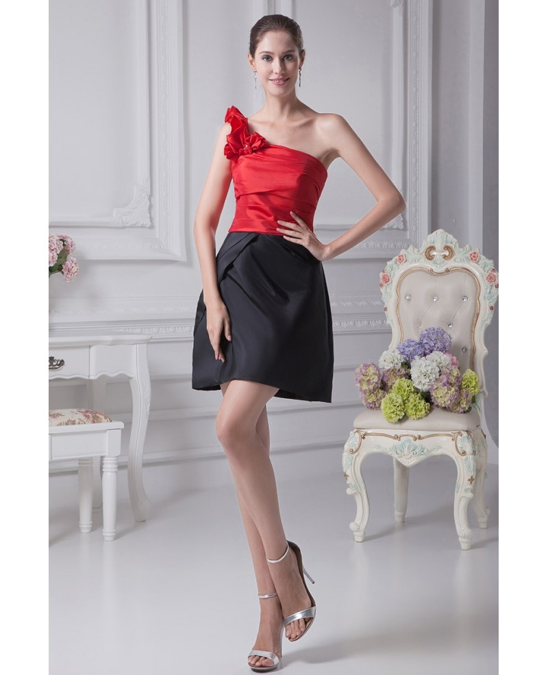 Simple Black and Red One Shoulder Taffeta Dress in Cocktail Length