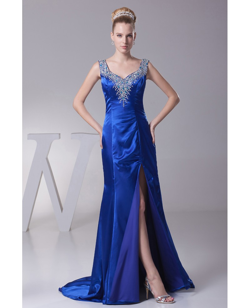 Sexy Sweetheart Neck Royal Blue Beading Prom Dress with Split Front