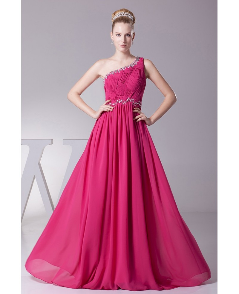 Crossing Pleated Tight Beaded Fuchsia Formal Dress in One Shoulder