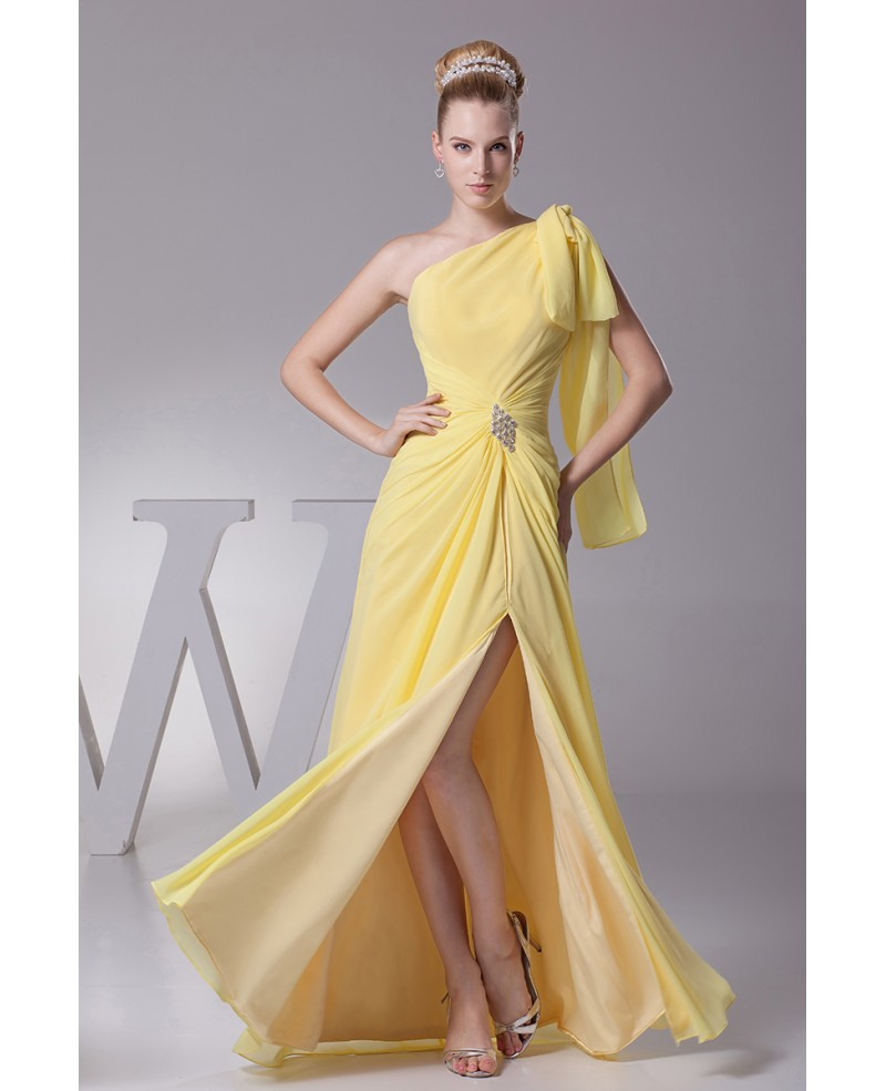 One Shoulder Sleeve Yellow Chiffon Long Prom Dress with Split Front