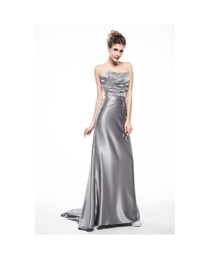 Silver Sweetheart Beaded Pleated Long Train Length Prom Dress