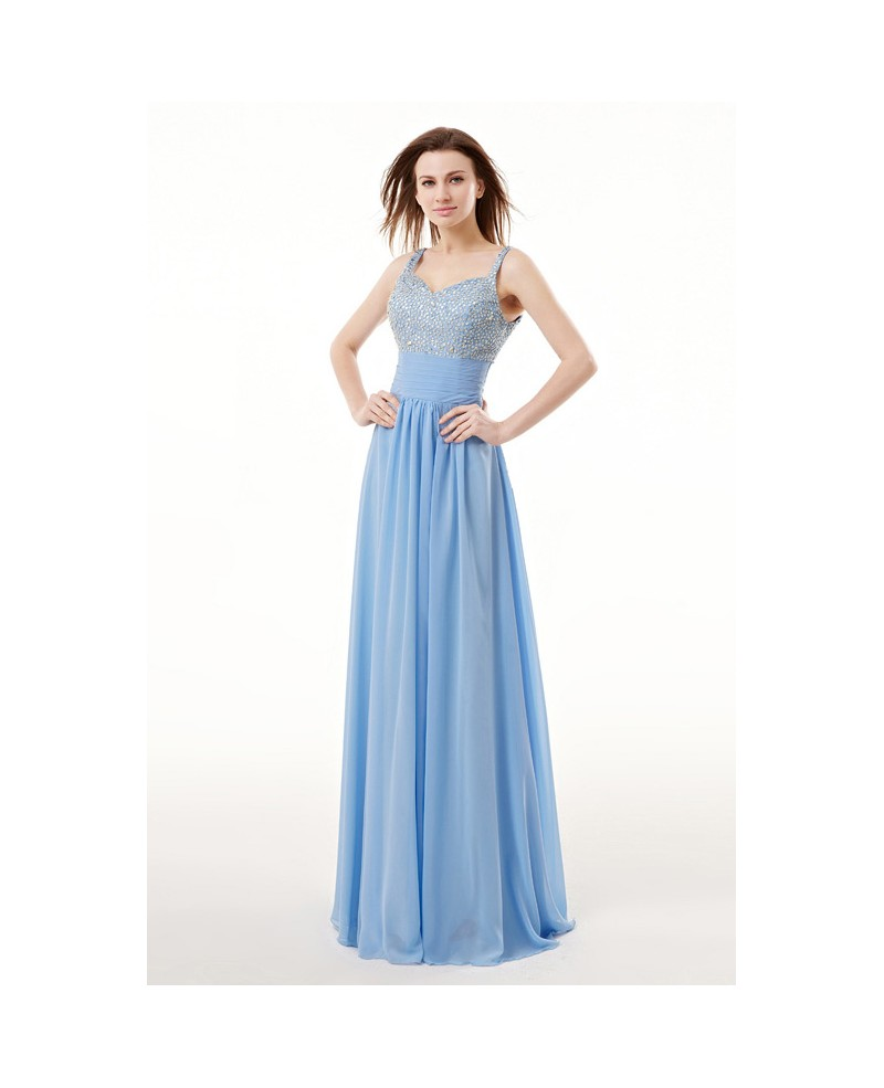 Beautiful Beaded Strap Empired Chiffon Long Prom Dress