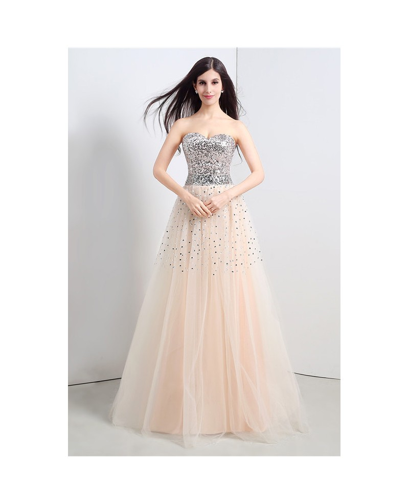 A-line Sweetheart Floor-length Prom Dress with Beading