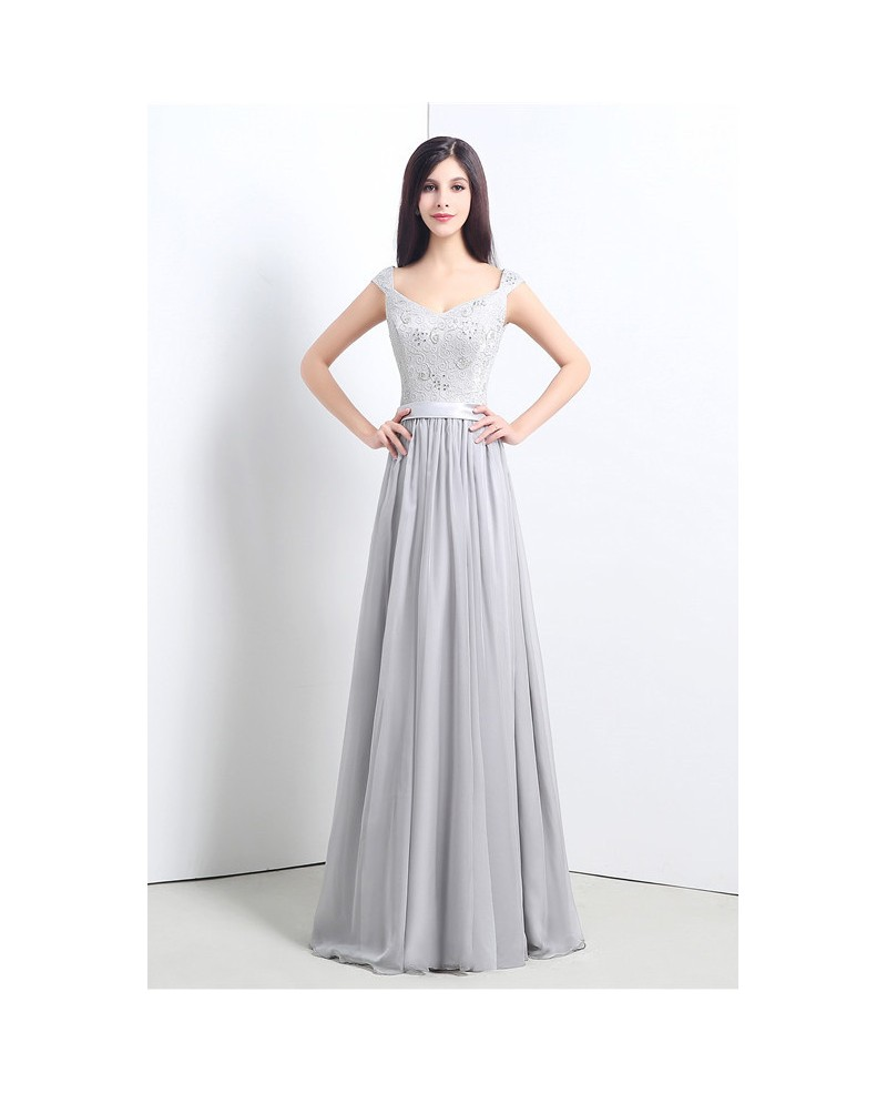 A-line V-neck Floor-length Prom Dress with Beading