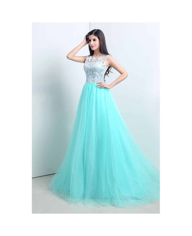 A-line Scoop Sweep-train Prom Dress with Beading