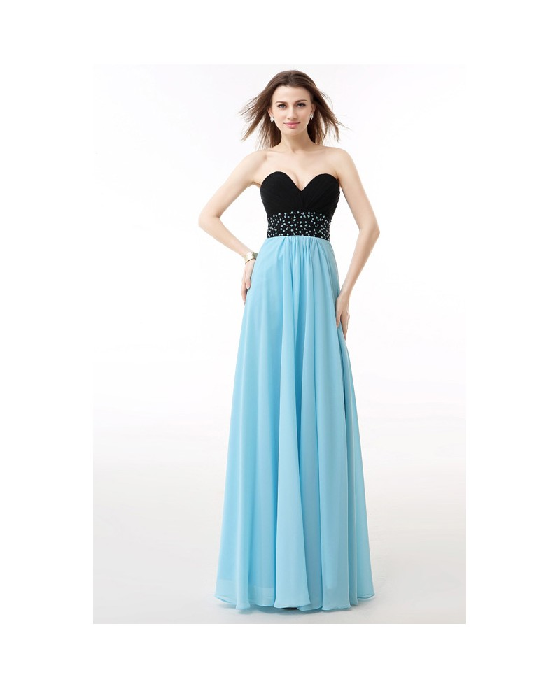Sweetheart Two-Tone Beaded Empire Waist Long Prom Dress