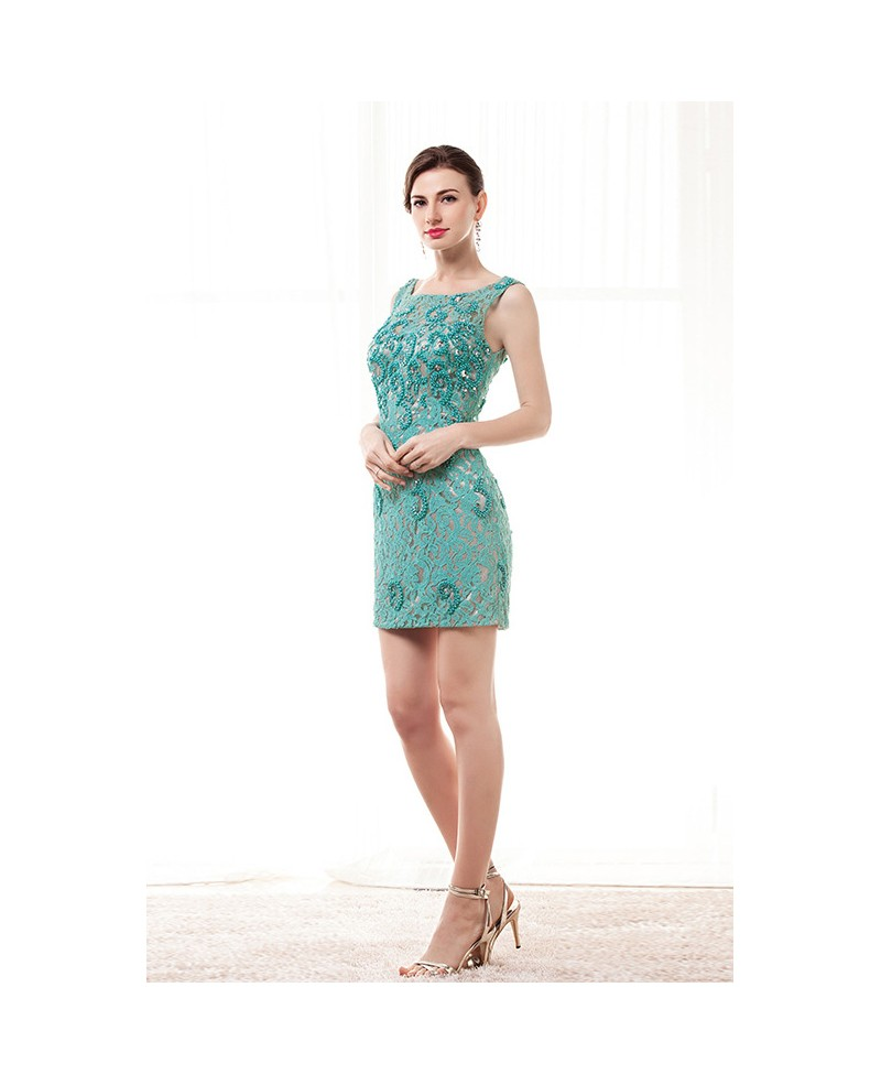 Sheath Scoop Neck Short Lace Prom Dress With Beading