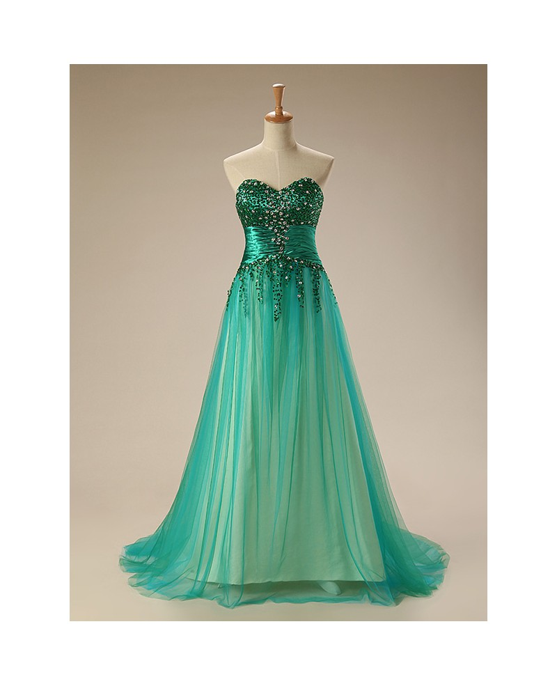 A-Line Sweetheart Sweep Train Tulle Prom Dress With Beading Sequins