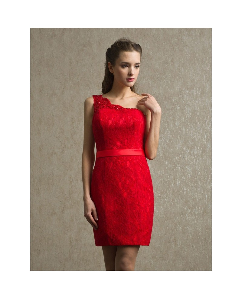 Little Red One Shoulder Sheath Lace Short Dress with Sash