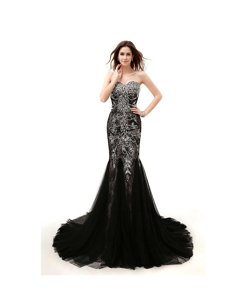Mermaid Sweetheart Chapel Train Tulle Prom Dress With Beading Sequins