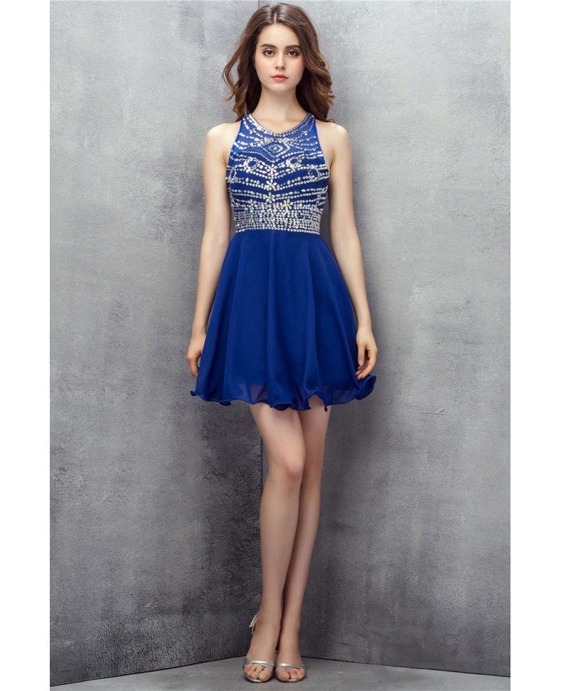 Sparkly Beaded Short Chiffon Blue Prom Dress