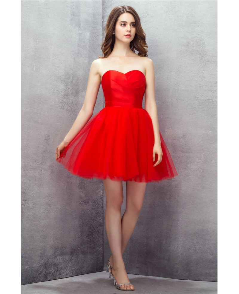 Red Sweetheart Mini Short Tulle Prom Dress