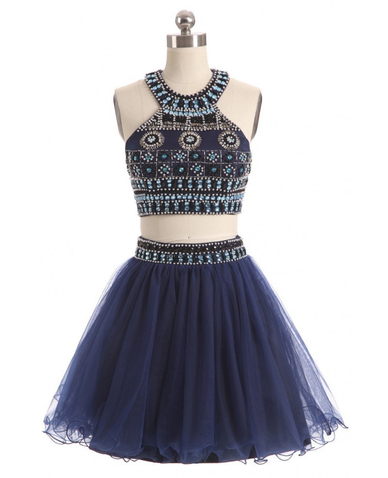 Beaded Short Halter Two-piece Blue Prom Dress