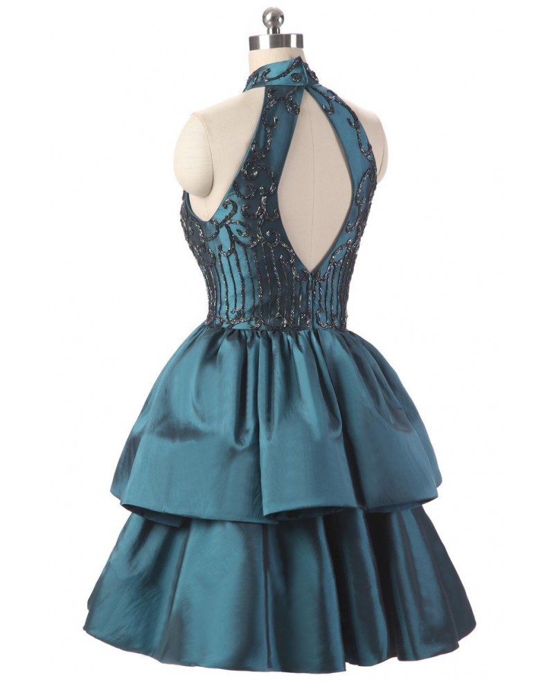 Embroidered Short Halter Ink Blue Taffeta Party Dress