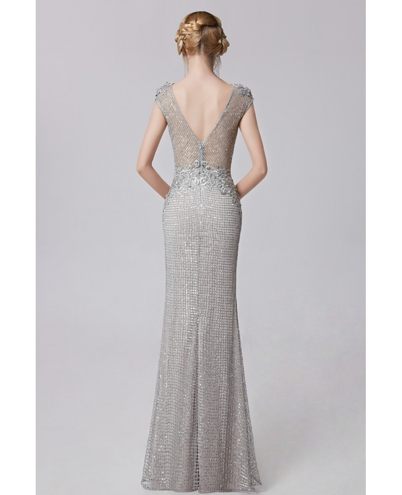 Cap Sleeved Silver Sequined Mermaid Floor Length Evening Dress