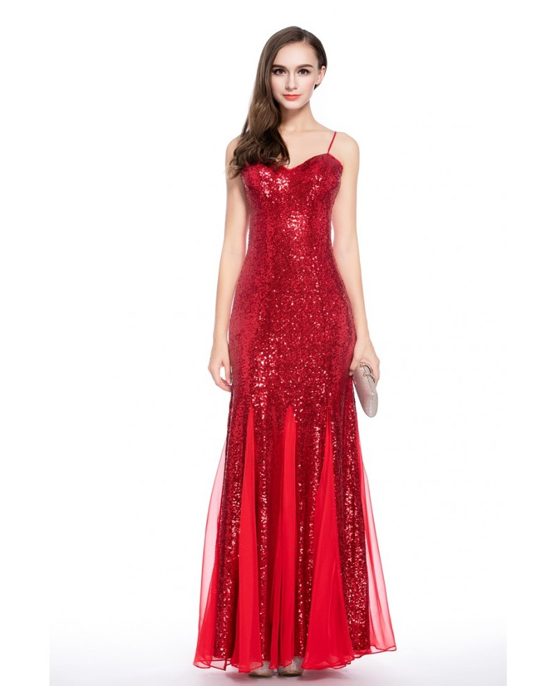 Red Sheath Sweetheart Sequined Floor-length Evening Dress
