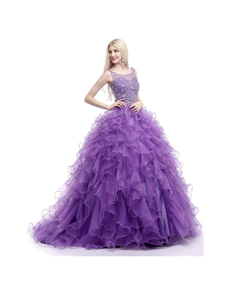 Ball-Gown Scoop Neck Sweep Train Tulle Prom Dress With Cascading Ruffles Beading