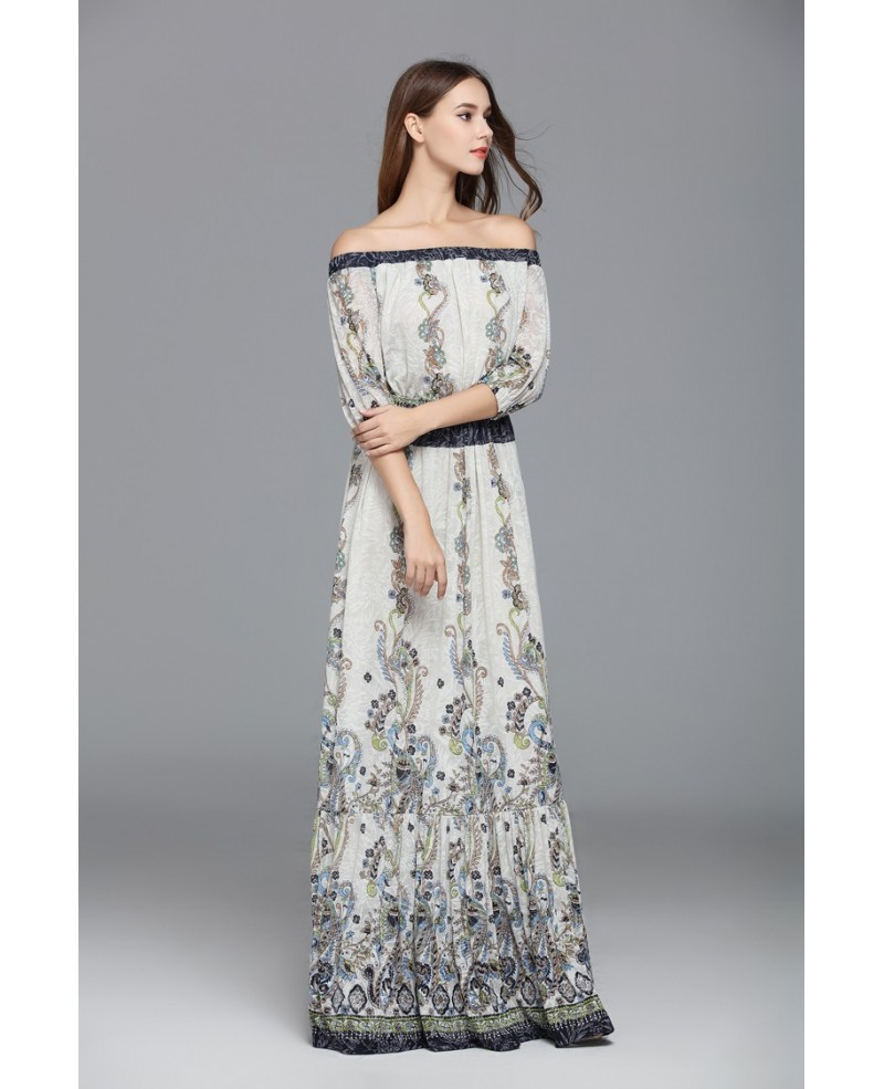 Exotic A-line Off-the-shoulder Printed Floor-length Evening Dress
