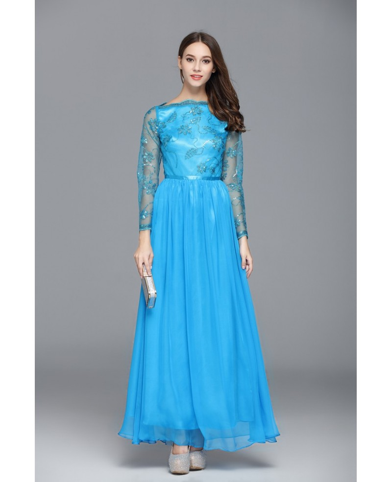 Blue A-line Scoop Neck Embroidery Floor-length Evening Dress
