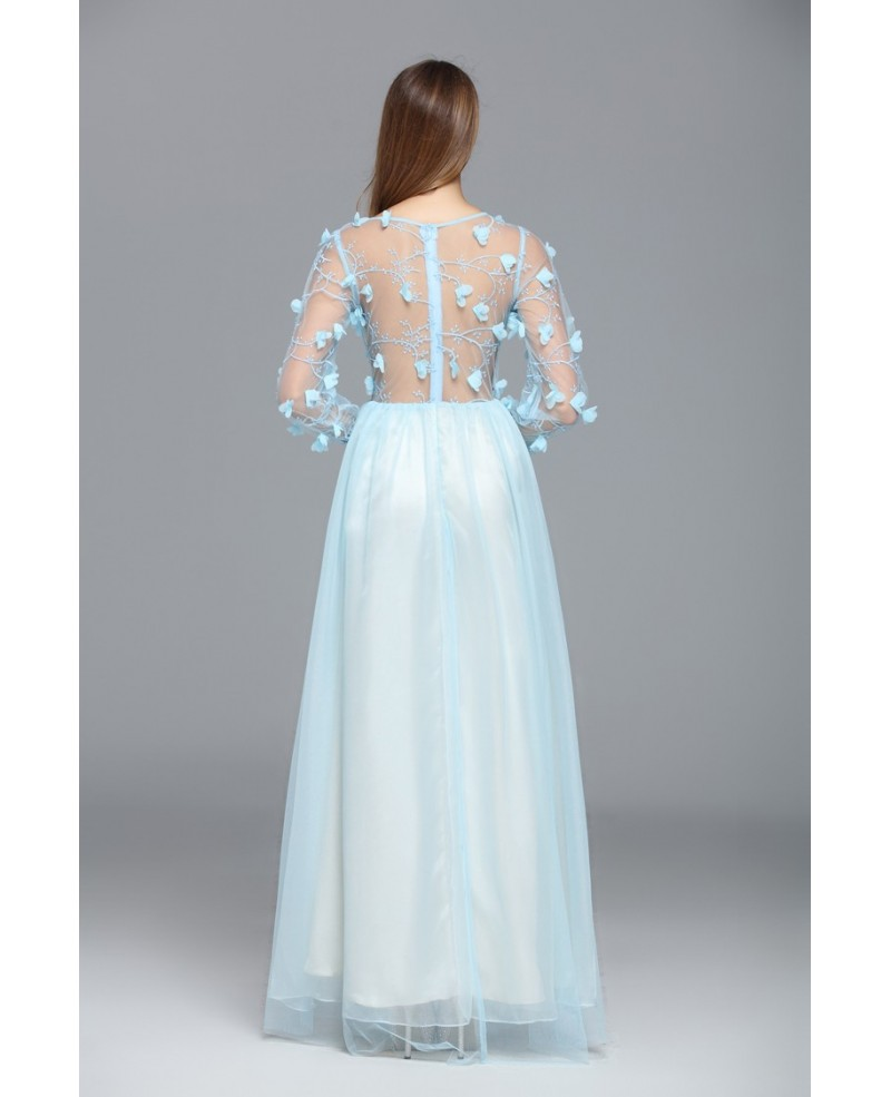 Light Blue A-line Scoop Neck Floor-length Evening Dress With Flowers