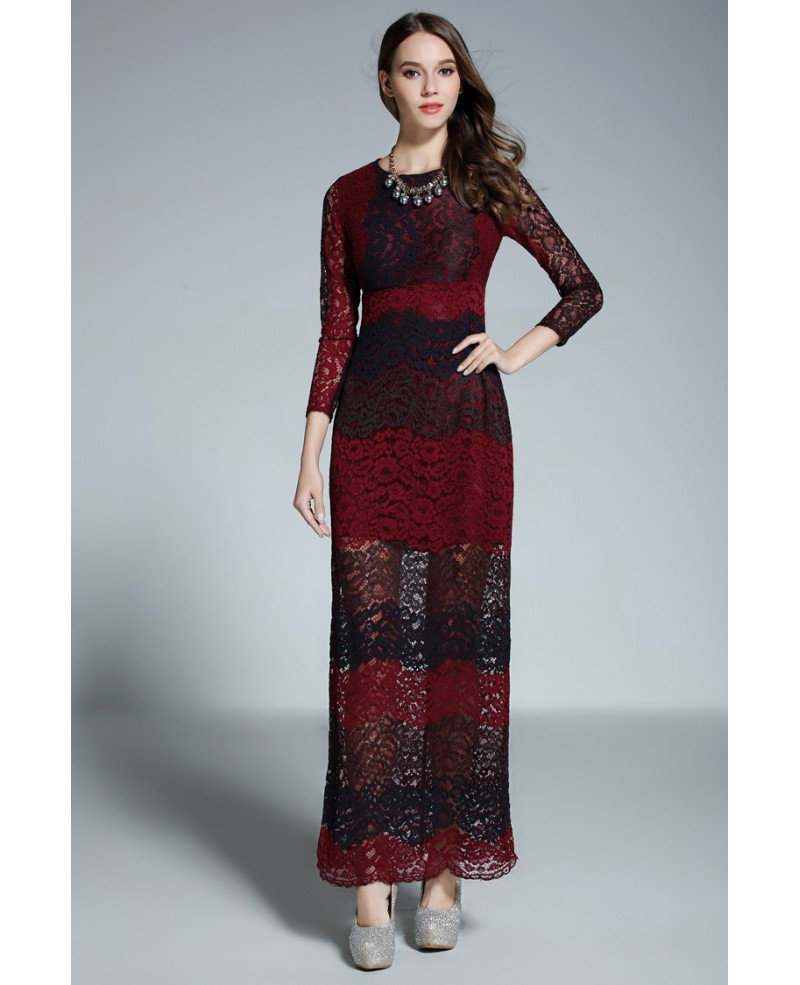 Black and Red A-line Scoop Neck Floor-length Lace Formal Dress With Sleeves