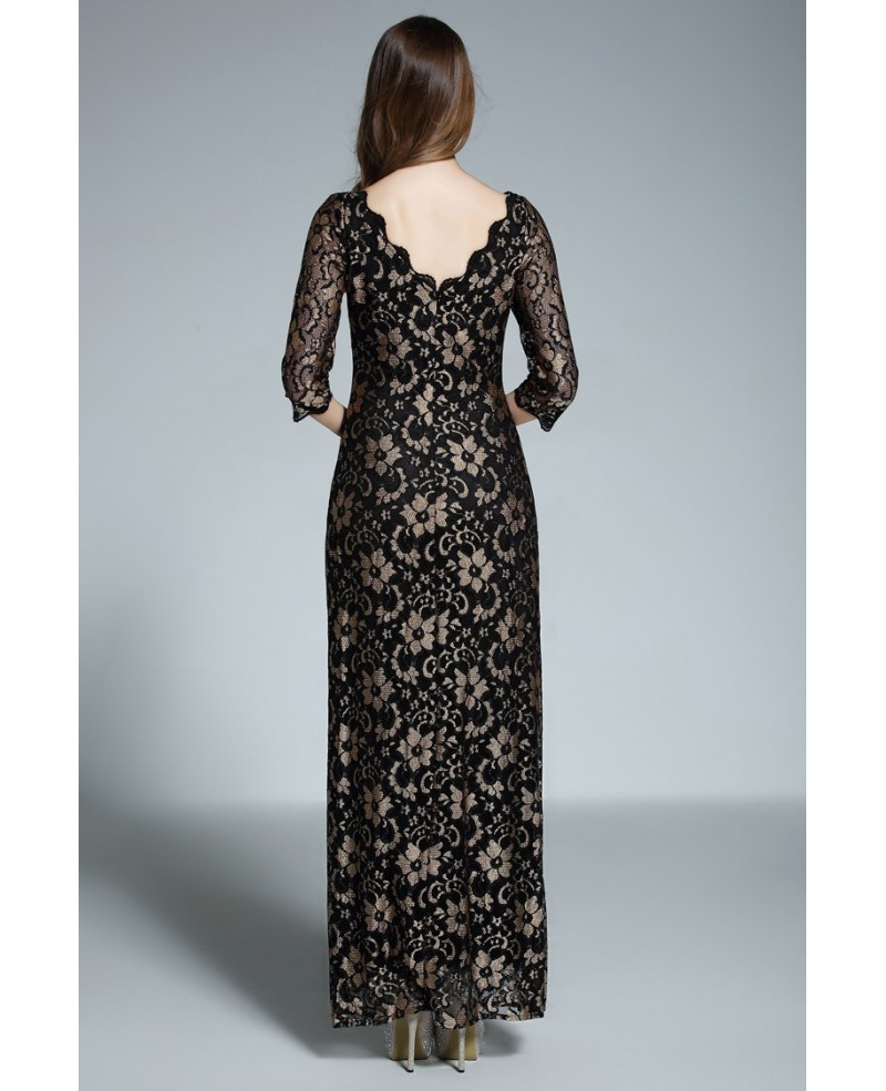 A-line Scoop Neck Floor-length Black Lace Formal Dress With Open Back