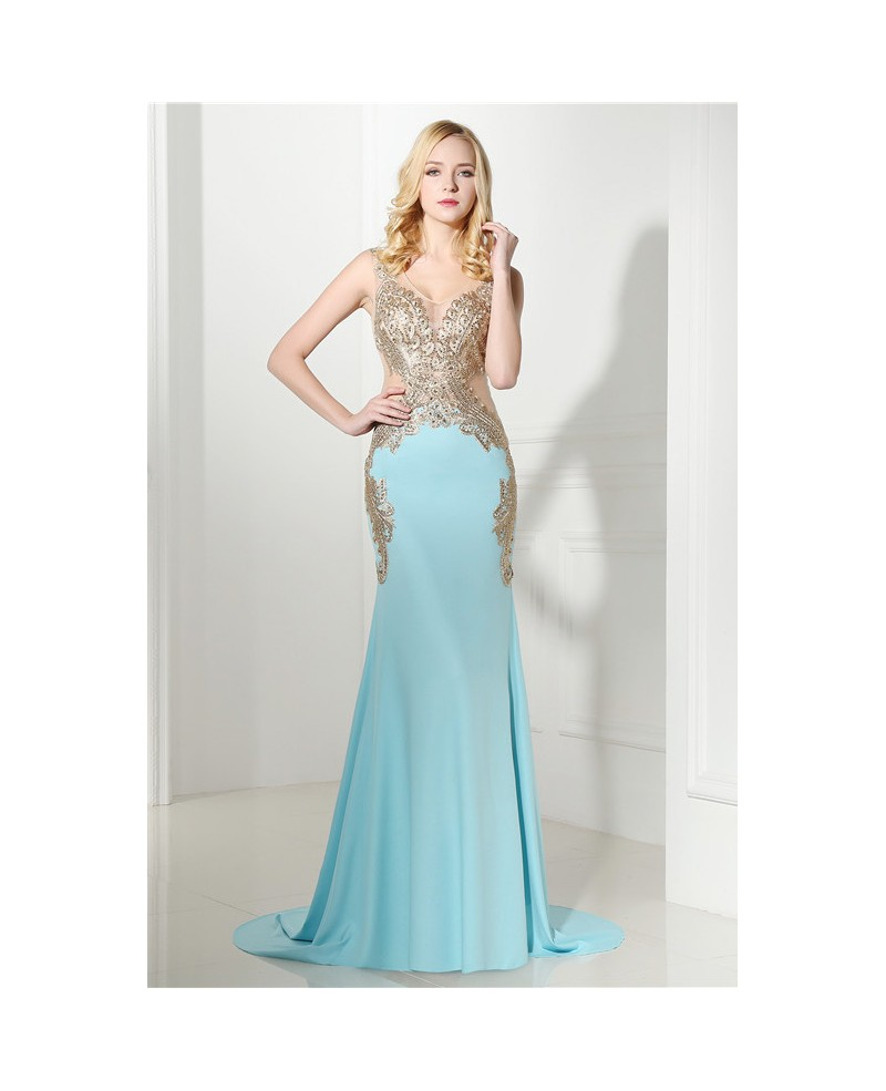 Mermaid V-neck Spaghetti Strap Court-train Prom Dress with Beading