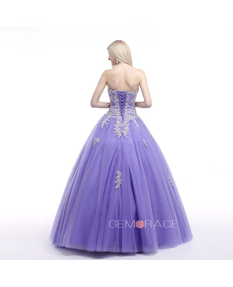 Ball-Gown Sweetheart Sweep Train Tulle Prom Dress With Ruffles Beading Appliques Lace