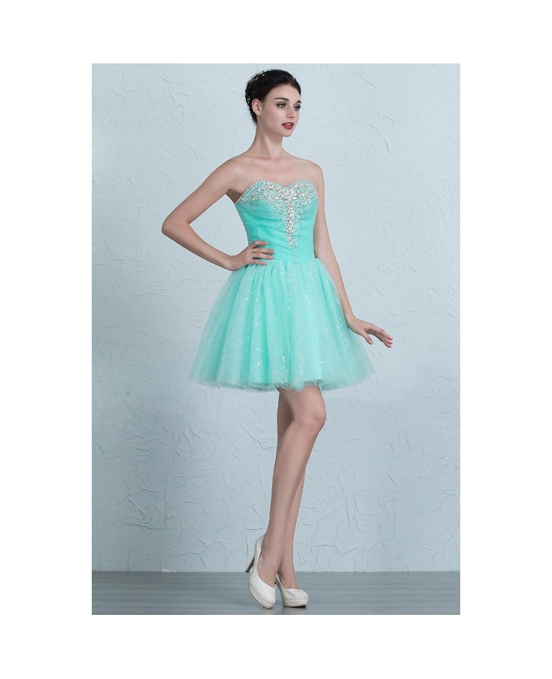 Pool Blue Beaded Sweetheart Mini Short Tulle Homecoming Prom Dress
