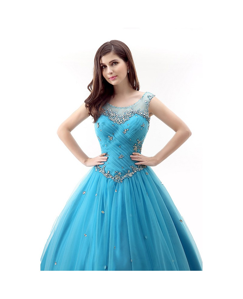 Ball-Gown Scoop Neck Sweep Train Tulle Prom Dress With Ruffles Beading