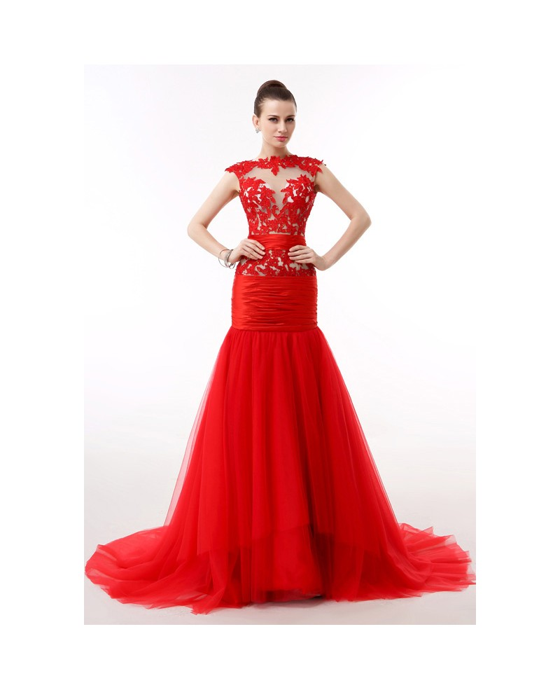 Mermaid Scoop Neck Court Train Tulle Prom Dress With Appliques Lace