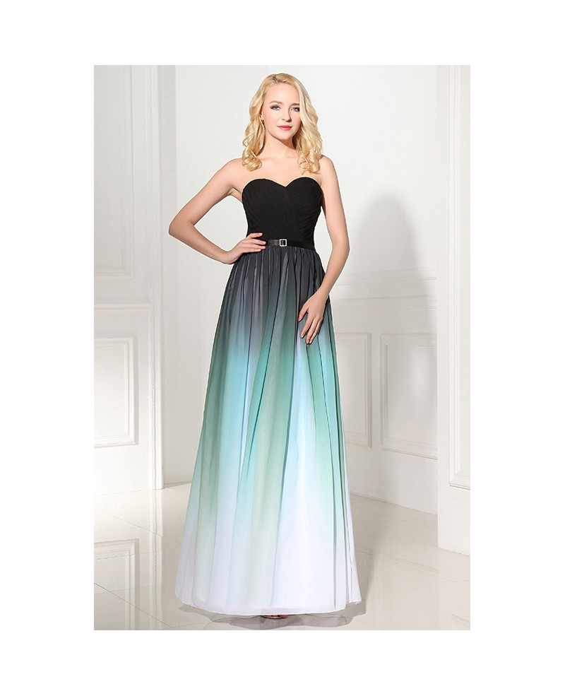 Sweetheart Empire Buckle Sash Ombre Long Chiffon Prom Dress