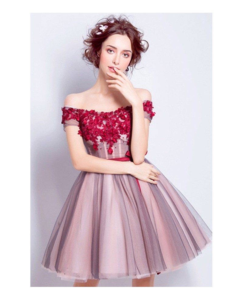 Lovely A-line Off-the-shoulder Short Tulle Formal Dress With Flowers