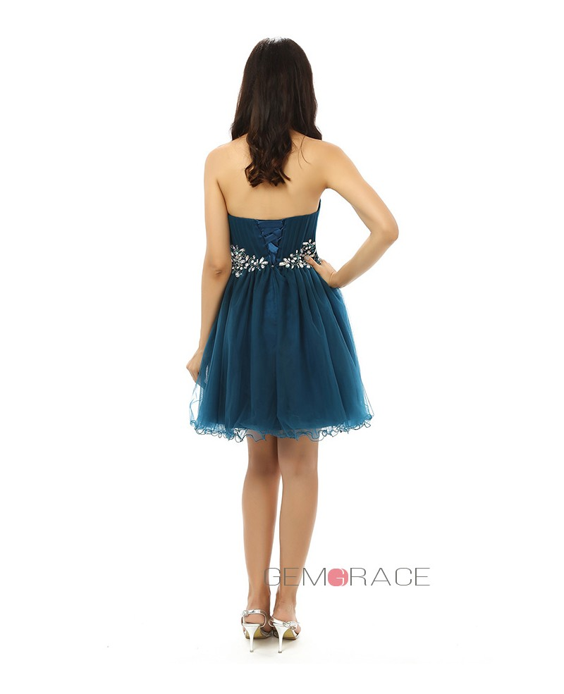 A-line Sweetheart Knee-length Prom Dress