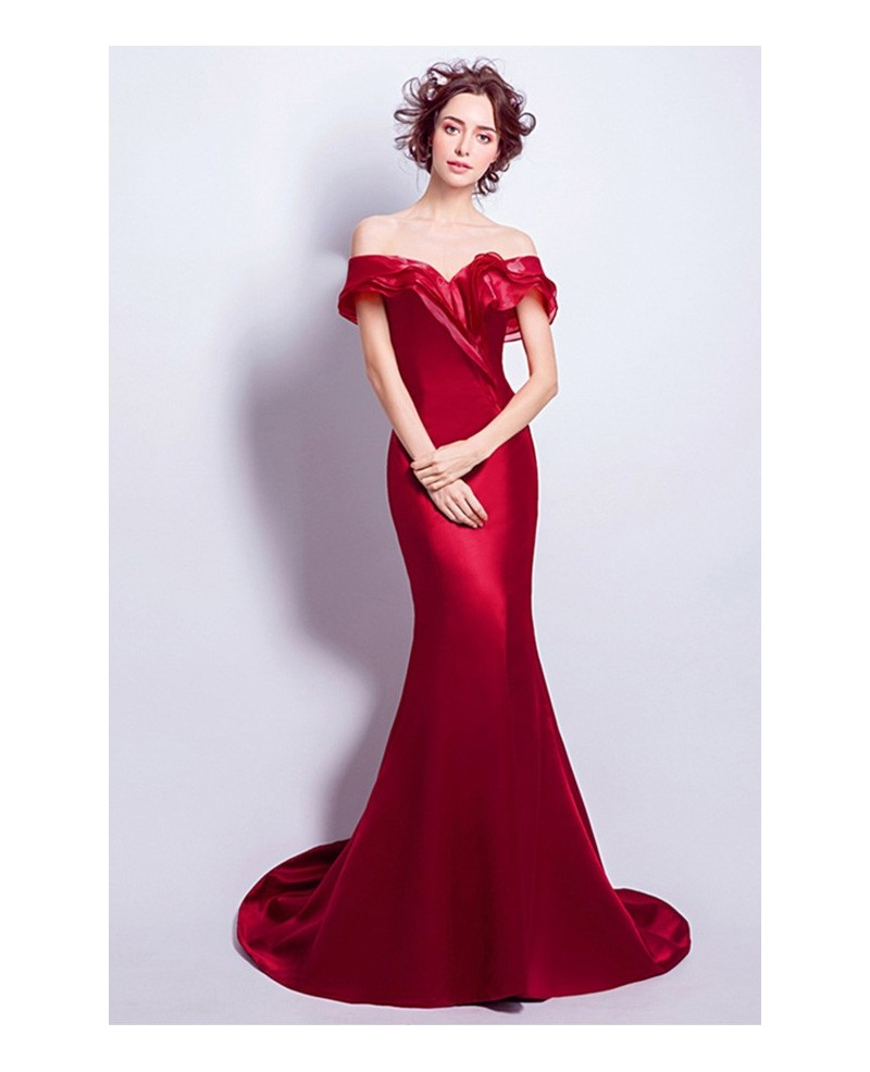 Wine Red Mermaid Off-the-shoulder Sweep Train Satin Evening Dress