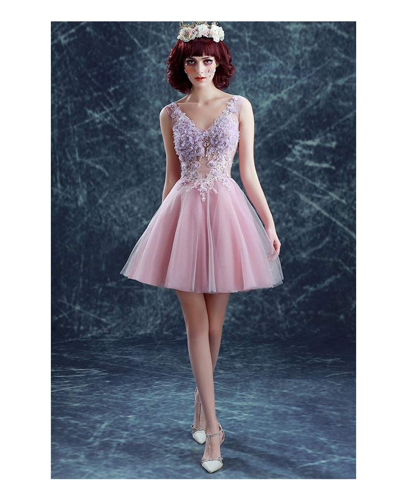 A-line V-neck Short Tulle Formal Dress With Flowers