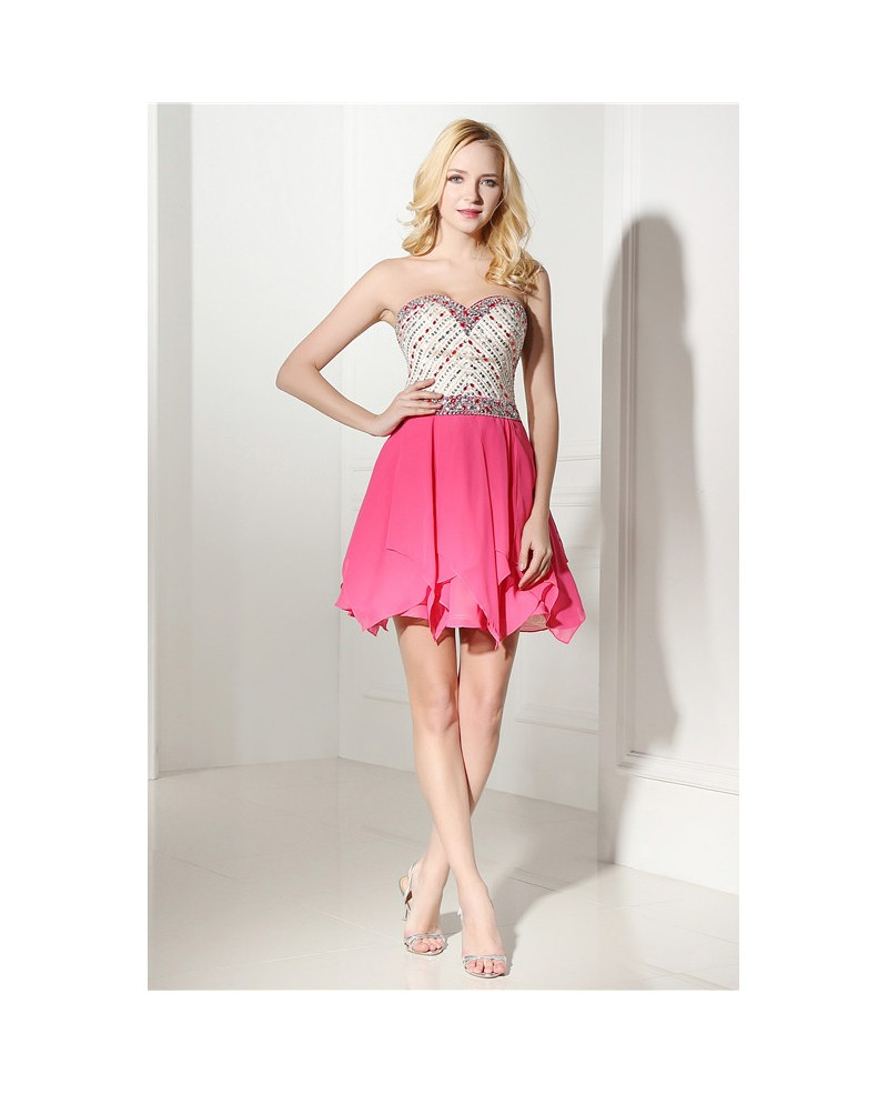 Fuchsia Short Sweetheart Knee-length Prom Dress