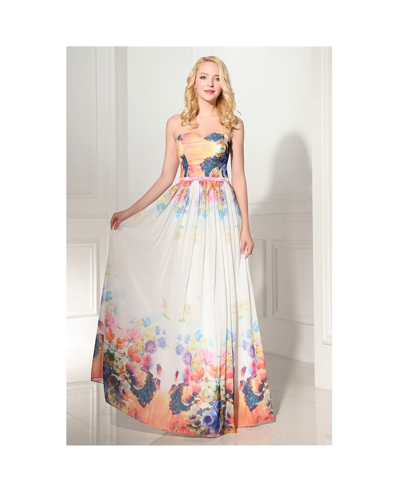 Printed Flowers Sweetheart Long Formal Occasion Dress