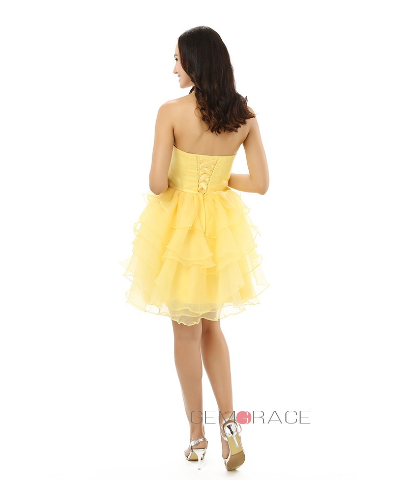 A-line Sweetheart Knee-length Prom Dress with Ruffle