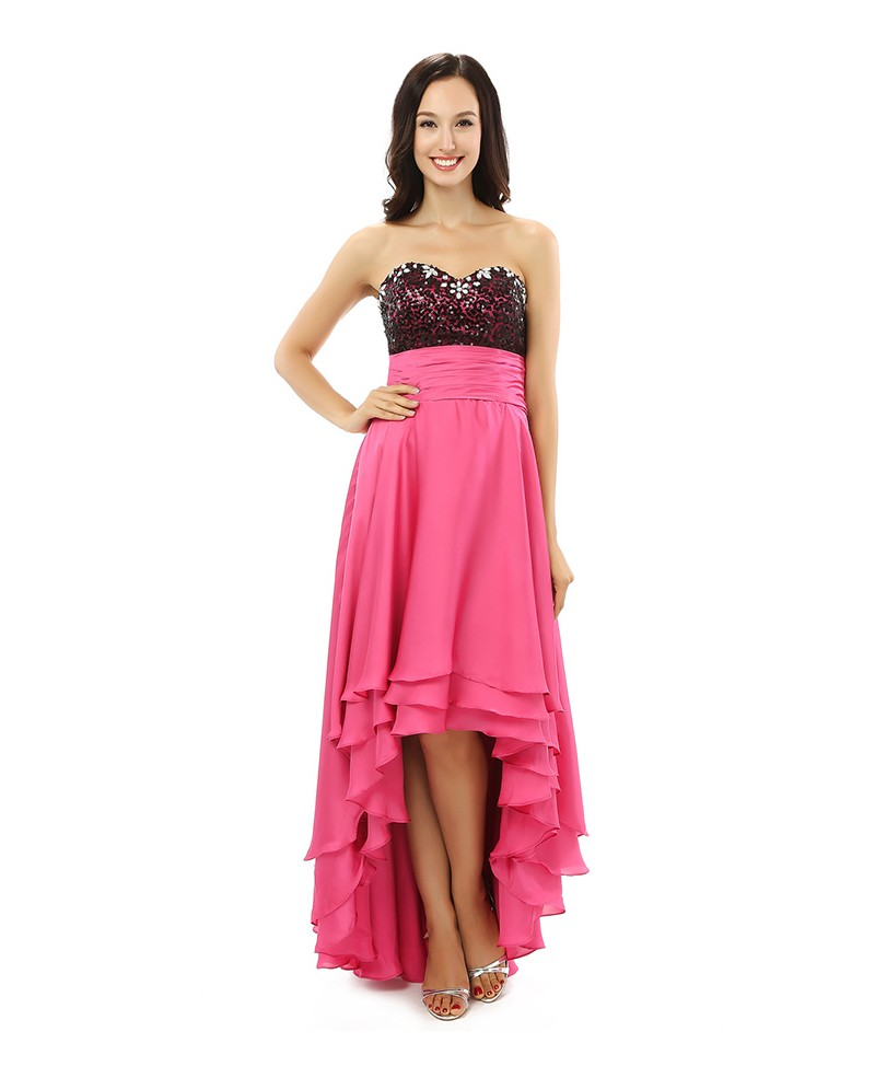 A-line Sweetheart Knee-length Asymmetrical Prom Dress