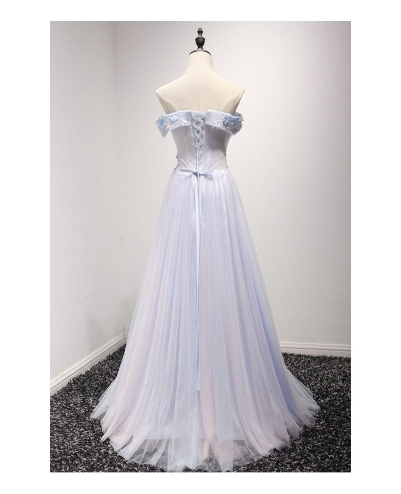 Sky Blue A-line Off-the-shoulder Floor-length Tulle Prom Dress With Appliques Lace
