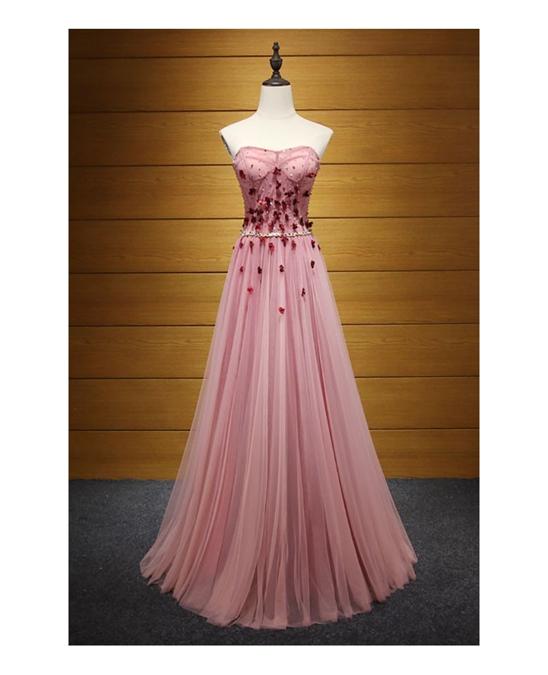 Special A-line Strapless Floor-length Tulle Prom Dress With Beading