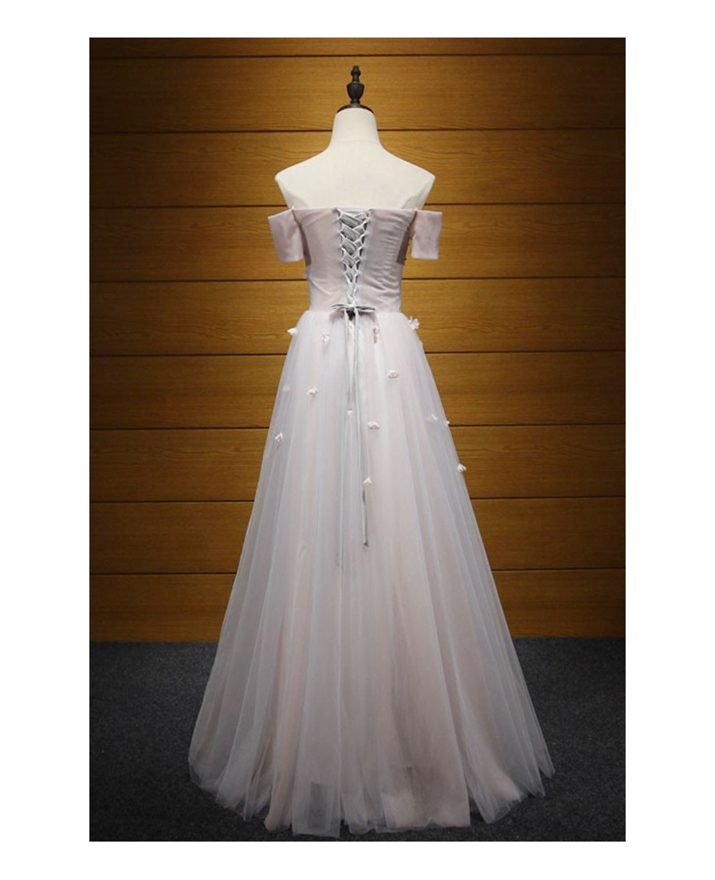 Dreamy A-line Off-the-shoulder Floor-length Tulle Prom Dress With Appliques Lace