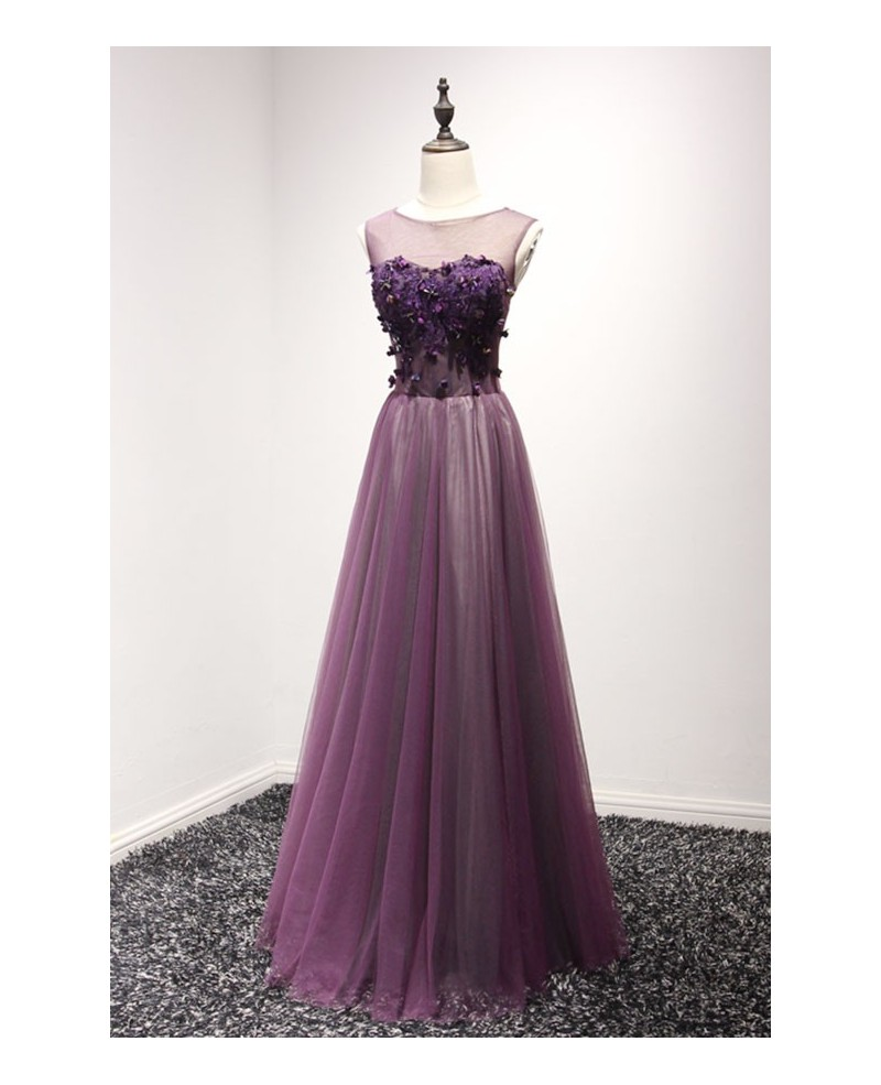 Grape A-line Scoop Neck Floor-length Tulle Prom Dress With Open Back