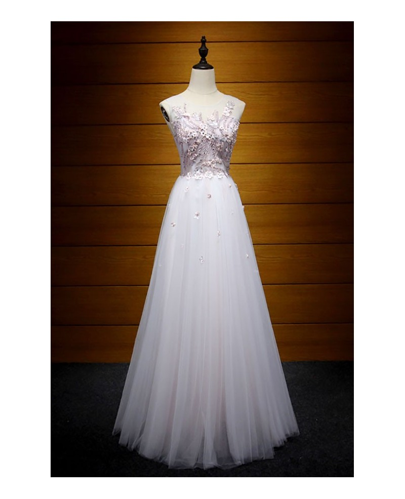 Feminine A-line Scoop Neck Floor-length Tulle Prom Dress With Appliques Lace